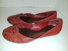 ADAGIO GIANNNA Womens Red Shoes Leather Upper Slip On Flats US7.5M