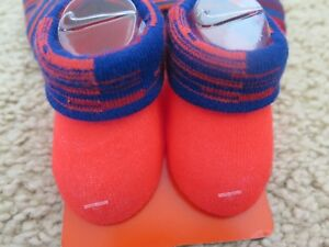 NEW NWT Nike Infant Bright Orange and Blue Beanie Hat And Booties 0-6 Months