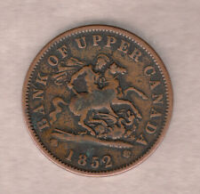 1852 Bank Of Upper Canada One Penny Token ~ Very-Good Condition!
