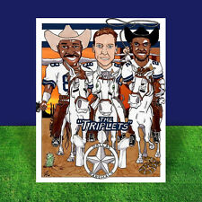 TROY AIKMAN, EMMITT SMITH, MICHAEL IRVIN Dallas Cowboys artist signed POSTER ART