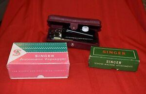 Vintage Singer Sewing Machine Accessories Lot Zigzagger, Attachments Button Hole