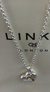 Links Of London Silver Double Heart Pendant/Necklace Solid Chain BNIB/Gift Bag.