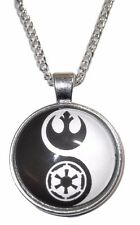 Star Wars Yin Yang Rebel Forces and Galactic Empire GLASS DOME Pendant Necklace