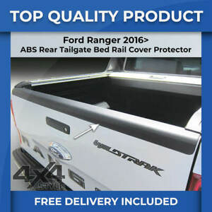 FORD RANGER 2016> BLACK REAR TAILGATE LOAD BED RAIL SCRATCH PROTECTOR COVER TRIM