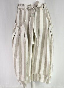 Stunning Berlin Designer XADOO Striped Linen Balloon Trousers Size L/XL