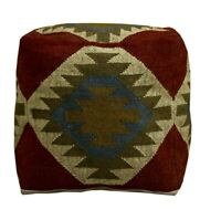 """Authentic Kilim Pouffe Cover 18"""" Handwoven Footstool Cover Ottoman Pouf Cover"""