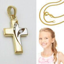 Echt Gold 585 Kinder Kommunion Taufe Zirkonia Kreuz mit Kette Silber vergoldet