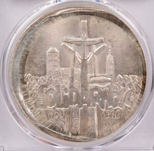 PCGS Poland 1990 100K Zl Solidarity Uncentered Broadstrike MS66