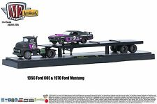 1:64 M2 Machines AUTO-HAULERS R20A 1956 Ford COE Semi Flatbed w/1970 Mustang