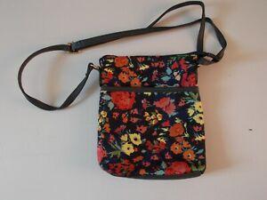 Navy Blue CrossBody Bag With Multi Coloured Flower Pattern Adjustable Strap