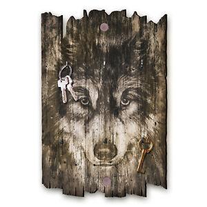 Wolf Schlüsselbrett Hakenleiste Landhaus Shabby chic aus Holz 30x20cm