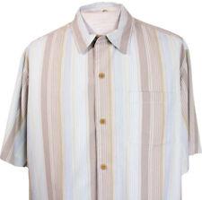 Tommy Bahama Mens L Stripe Beach Camp Hawaiian Silk Shirt