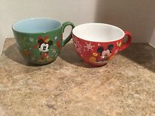 2 jumbo Disney Store green & Red Mickey Mouse Christmas Holiday Mugs