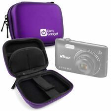 Shock Absorbant Purple Hard Case for Nikon Coolpix A300 Camera w/ Carabiner Clip