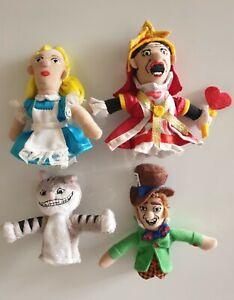 Alice in Wonderland Finger Puppets Plush Dolls Collectable Magnet Figures x4