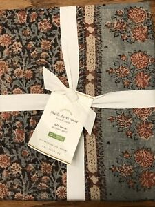 Pottery Barn Thaila Paisley Cotton Linen FULL/QUEEN Duvet Cover Blue Sold Out@PB