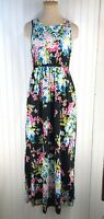 Women's Floral Printed Sleeveless Maxi Dress - Black - Size: L NEW