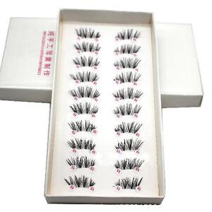 Hot 10 Pairs/lot handmade Cross False Eyelashes Half Mini Corner Eyelashes
