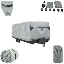 27-30 Feet Extra-Thick 4-Ply Camper Travel Trailer Rv Cover & 8Pcs Straps