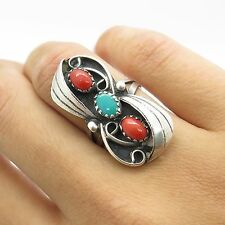 Signed Old Pawn 925 Sterling Silver Coral Turquoise Gem Womens Ring Size 5 4.5g