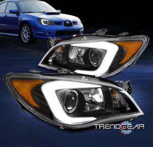 For 2006-2007 Subaru Impreza LED Tube Halogen Projector Headlight Headlamp Black