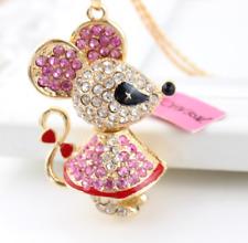 Betsey Johnson Jewelry lovely Cartoon mouse Pendant rhinestone necklace loves