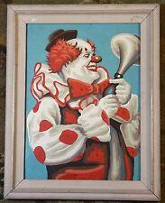 Clown Portrait - Original Paint by Numbers Vintage Art Circus Painting TM Dooley