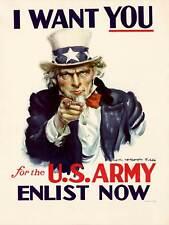 PROPAGANDA UNCLE SAM RECRUITMENT US ARMY I WANT YOU STARS STRIPES POSTER BB9245