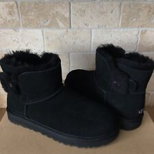 UGG Mini Bailey Fluff Buckle Black Suede Sheepskin Boots Size US 8 Womens