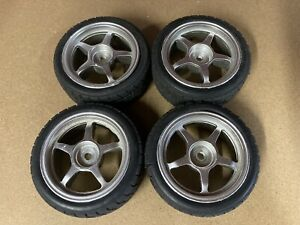 5 Spoke Wheels And Tyres For Tamiya Touring Or Rally Car (TT01 / TT02)