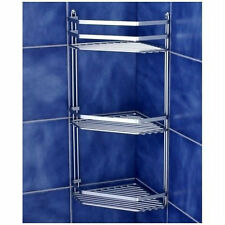 Chrome Bathroom Corner Shelf Triple Shower Basket Toilet Accessories Silver New
