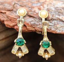 Vintage Earrings 1960s Green Rhinestone Pearl Drop Screw-In Retro Jewellery 60s
