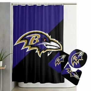 Baltimore Ravens Bathroom Rugs Set 4PCS Shower Curtain Toilet Seat Cover Gifts