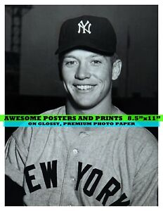 """Mickey Mantle, New York Yankees, Rookie Photograph. 8.5""""x11"""" (50023)"""