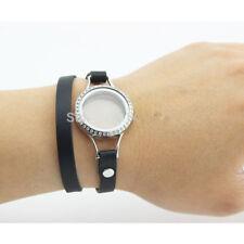 Screw Top Floating Charm Living Locket Bracelet  PU Leather Wrap Charm Wristband
