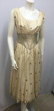 VINTAGE LIBERTY OF LONDON DRESS 50'S 60'S SILK IVORY & METALIC LAME XS S