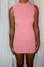 Womens Pink Ribbed Polo Neck Bodycon Dress size 10 uk