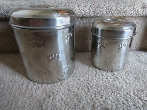 Set Of 2 Stainless Steel Paw Print Storage Canisters