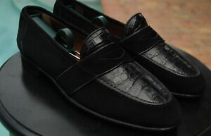 Gucci Man's  Alligator  Suede combinaton LOAFERS SHOES GUCCI BRAND  SIZE 41.5 D