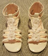 Girls Jumping Beans Toddler Sandals White//Silver 5,6,7,8,9,10,11 NEW