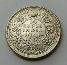1943 India 1/4 Rupee .500 Silver Uncirculated Coin