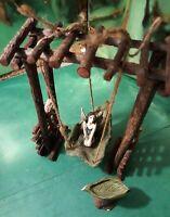 3 piece fantasy set fairy pixie garden wooden tree swing miniature doll handmade