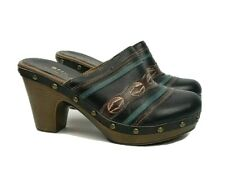 Spring Step 37 EU 6.5 US Clogs Mules Brown/Black Leather Aztec boho style