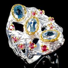 Vintage Natural Blue Topaz 925 Sterling Silver Ring Size 7.25/R104090