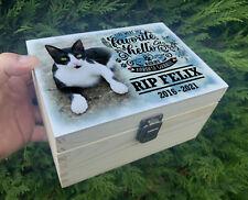 Cat Feline wooden urn casket, Urn for pet ashes, Keepsake box, In loving memory.