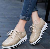 Women Platform Shoes Brogue Patent Leather Flats Lace Up Flat Oxford Shoes