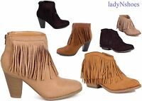 NEW Women's Faux Suede Fringe Almond Toe Low Heel Cowgirl Ankle Boots Size 6- 11