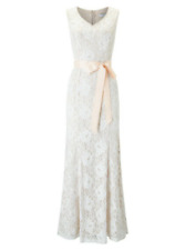14 Jacques Vert Ivory Blush Pink Sequin Lace Fishtail Wedding Dress