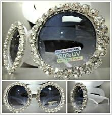 CLASSIC VINTAGE RETRO Style SUN GLASSES Round White Frame Huge Bling Crystals