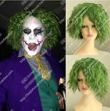 Cosplay Party Wigs Joker Little Green Hair Short Curl Wavy Man Wig Amazing Crazy